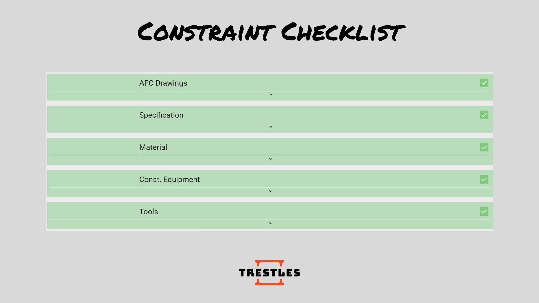 Trestles Constraints Checklist